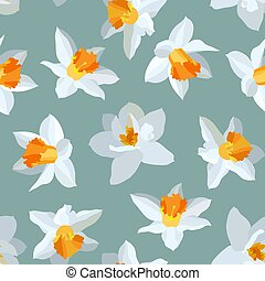 Seamless vector pattern of narcissus.