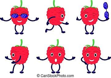 Vector illustration set cartoon funny raspberry
