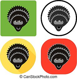 vector illustration set character muzzle hedgehog flat ...