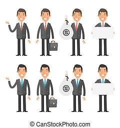 Set characters businessman