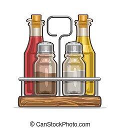 Vector illustration Set glass Shakers for salt and pepper