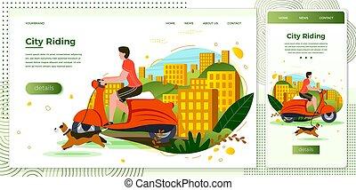 Vector illustration set man on motorbike with dog