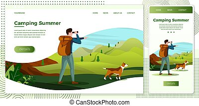Vector illustration set - man travel with dog
