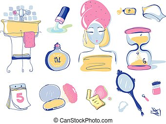 Vector Illustration Set of 10 Health and Beauty Objects