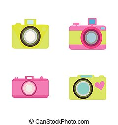 Set of 4 cameras in a flat style on a white background