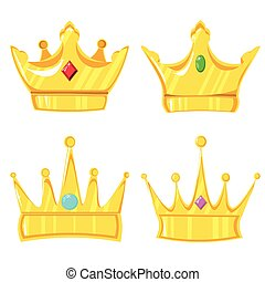Set of 4 golden crowns with a precious stone on a white background