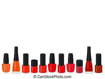 Vector illustration set of a color nail polish.