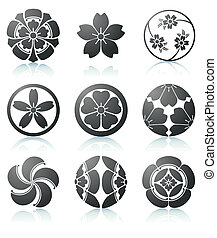 Sakura graphic elements - Vector illustration set of...