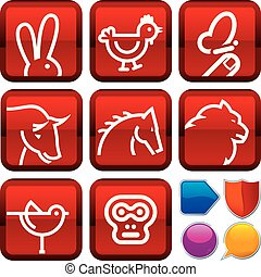 Set of animal icons on square buttons. Geometric style.
