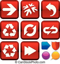 Set of arrow icons on square buttons. Geometric style.