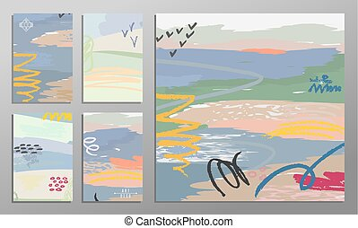 Vector illustration set of artistic colorful universal cards. Brush textures. Wedding, anniversary, birthday, holiday, party. Design for poster, card, invitation.