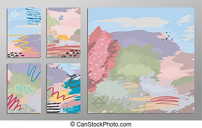 Vector illustration set of artistic colorful universal cards. Brush textures. Wedding, anniversary, birthday, holiday, party. Design for poster, card, invitation. Painting in the impressionism style.