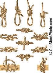 boating knots - Vector illustration - set of boating knots