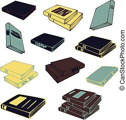Vector illustration set of books and piles of books isolated on a white background. Concept for book shop.