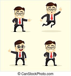 Vector illustration. Set of business man in different poses.