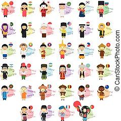 Vector illustration set of cartoon characters saying hello...