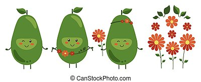 Vector illustration. Set of cartoon smiling avocado heroes with bright red flowers isolated on white. Positive fruit character with flower wreath. Bright floral decoration. Emoji Emoticon collection