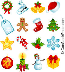 christmas icons - Vector illustration - set of christmas ...