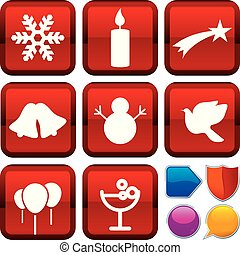 Set of Christmas icons on square buttons. Geometric style.