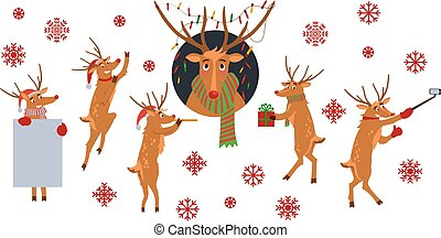 Vector illustration set of Christmas reindeer with red nose and various winter holiday symbols.