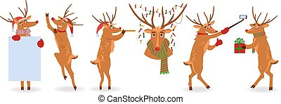 Vector illustration set of Christmas reindeer with red nose.