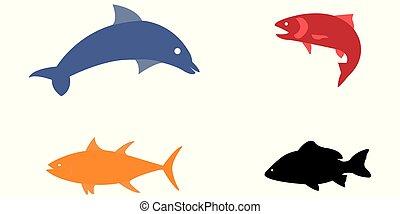 Vector illustration set of colorful sea animals
