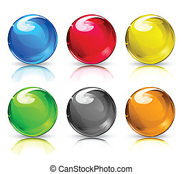 Vector illustration set of colouful refracting Glass marbles/button spheres on a white background.