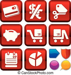 Set of commerce icons on square buttons. Geometric style.