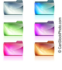 folder icons - Vector illustration set of cool colorful...