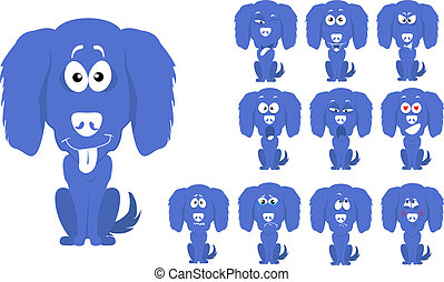 Vector illustration set of cute and funny cartoon little blue dog with facial Expressions