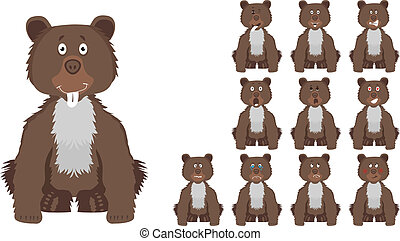 Vector illustration set of cute and funny cartoon little brown wild bear with facial Expressions
