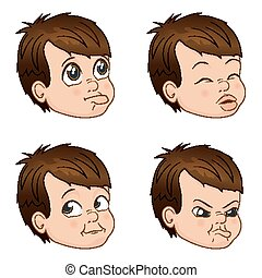 Vector Illustration set of cute little bully boy faces showing different emotions