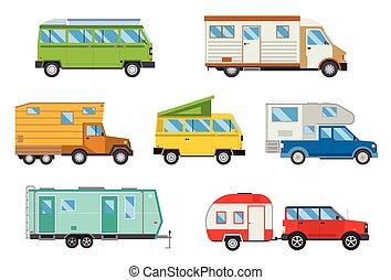 Vector illustration set of different campers travel car flat transport.