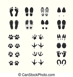 Vector illustration set of different foot and paw tracks of people, wild and domestic animals and birds.