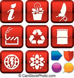 Set of ecology icons on square buttons. Geometric style.