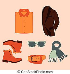 Vector illustration set of fashion accessories and style men clothing