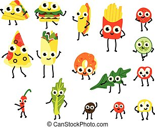 Vector illustration set of fast food and vegetable ingredients cartoon characters in flat style.