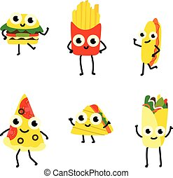 Vector illustration set of fast food cartoon characters in flat style isolated on white background.