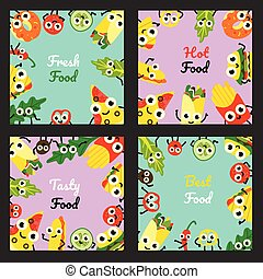 Vector illustration set of fast food square banners with border frames of meals and vegetables cartoon characters.