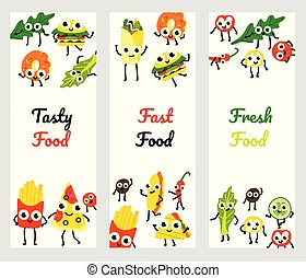 Vector illustration set of fast food vertical banners with various full meals and vegetables cartoon characters.