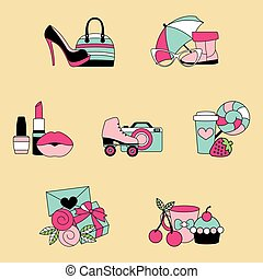 Vector illustration set of favorite things