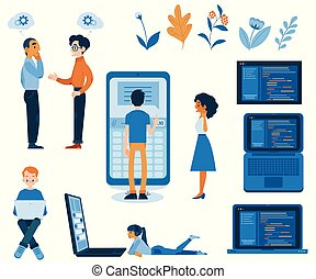 Vector illustration set of flexible application development concept in flat style.