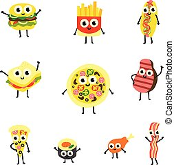 Vector illustration set of food cartoon characters in flat style.