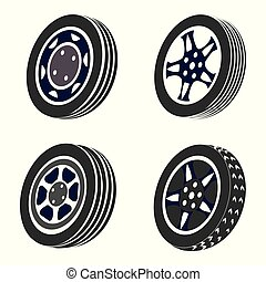 Vector illustration set of four car rims