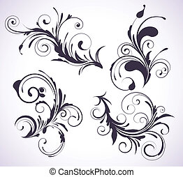 decorative floral elements - Vector illustration set of four...