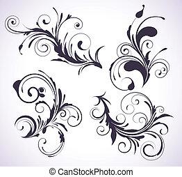 Vector illustration set of four swirling flourishes decorative floral elements