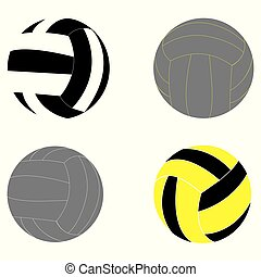 Vector illustration set of four volleyball designs