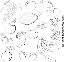 Vector illustration - set of fruits
