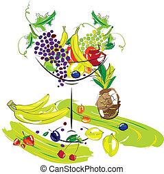 Vector illustration - set of fruits. Ftuits for dessert