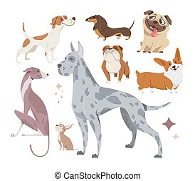 Vector illustration, set of funny purebred dogs, on a white background.